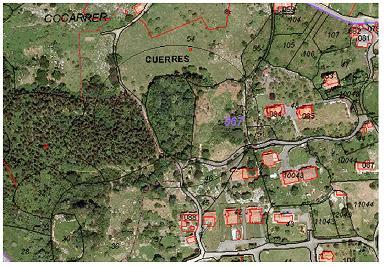 Esquema de ordenacion y Parcelación para cuatro parcelas en Cuerres Asturias