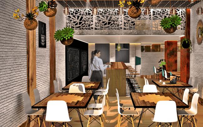 Adecuación de local para cafetería en Gijón proyecto del estudio de arquitectura Dolmen Arquitectos