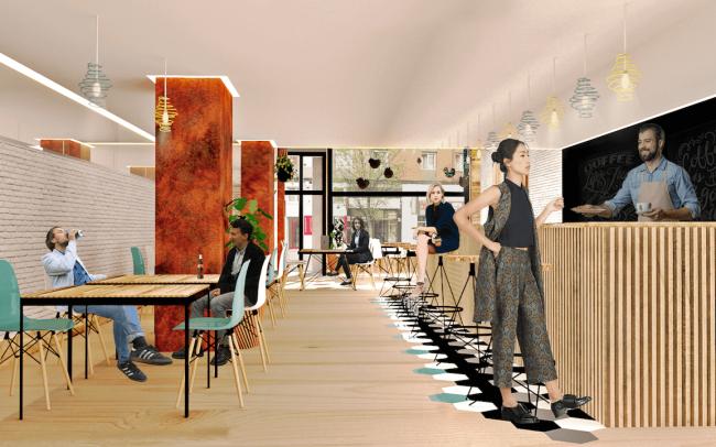 Adecuación de local para cafetería en Gijón proyecto del estudio de arquitectura Dolmen Arquitectos escena