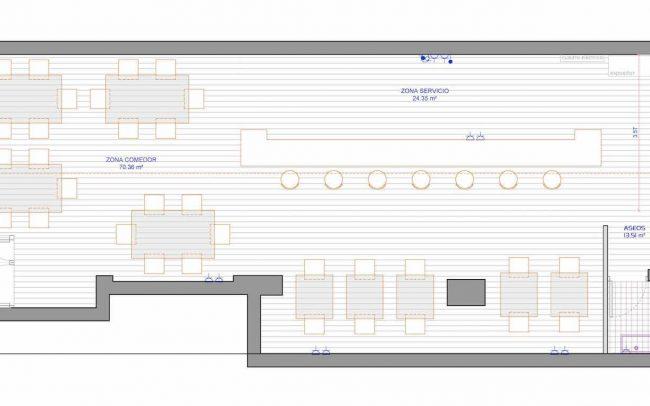Adecuación de local para cafetería en Gijón proyecto del estudio de arquitectura Dolmen Arquitectos planta reformada