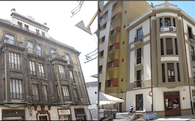 Antes y despues de la limpieza de la fachada calle Instituto gijon