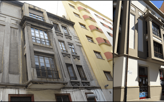 Antes y despues fachada calle Instituto gijon