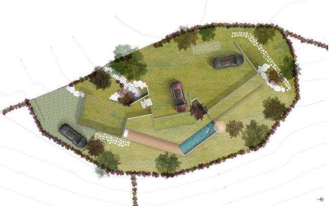 Arquitectura sostenible en Asturias vivienda unifamiliar en Santurio proyecto de Dolmen Arquitectos plano cubierta