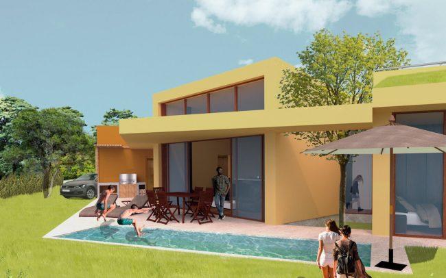 Arquitectura sostenible en Asturias vivienda unifamiliar en Santurio proyecto de Dolmen Arquitectos vista