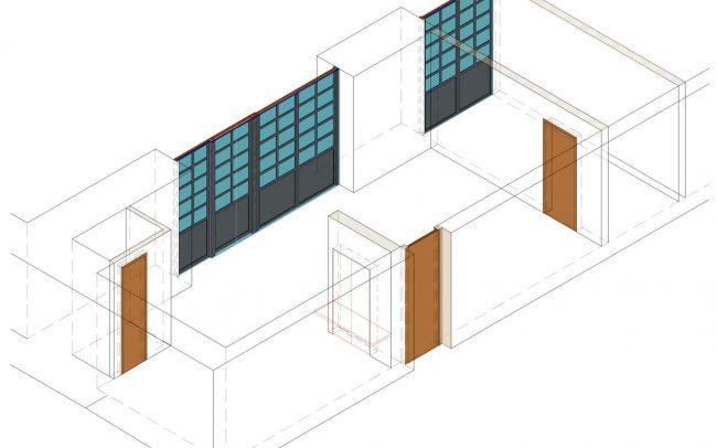 Axonometría reforma interior en la central hidráulica de La Malva obra de Dolmen Arquitectos