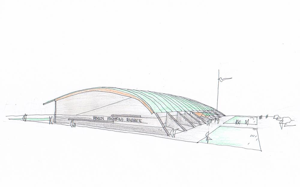 Concurso polideportivo Benavente Zamora Dolmen Arquitectos boceto 2