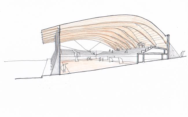 Concurso polideportivo Benavente Zamora Dolmen Arquitectos boceto
