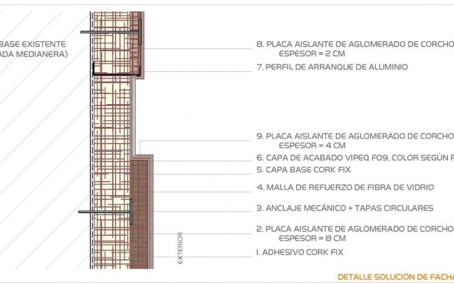 Detalle rehabilitación de fachadas y aislamiento en Gijón San Melchor de Quirós