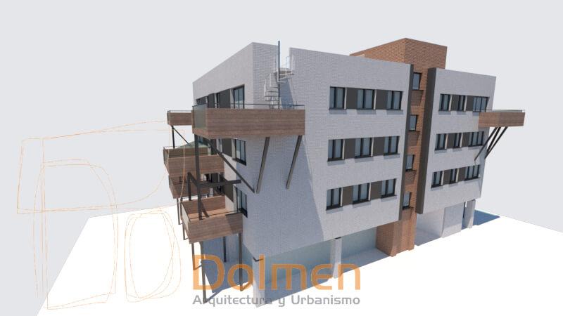 Edificio en La Camocha Gijón diseño final de Dolmen Arquitectos