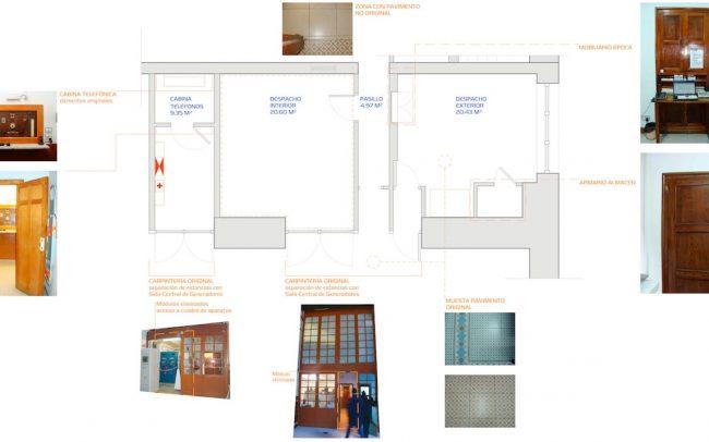 Estado actual reforma interior en la central hidráulica de La Malva obra de Dolmen Arquitectos