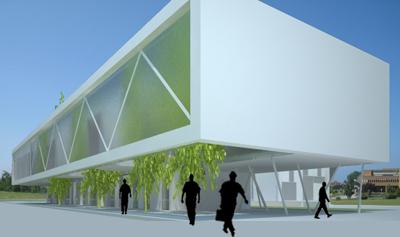 Exterior Edificio del Centro de Servicios Científico-Tecnológicos del Campus de Gijón Dolmen Arquitectos