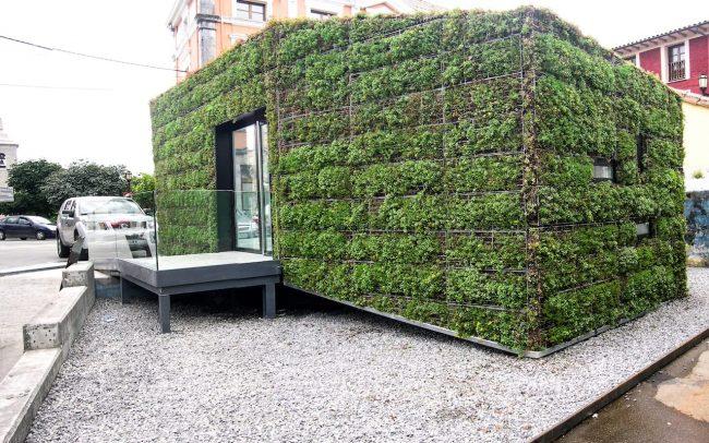 Fachada vegetal en oficina de información turística de Colombres Asturias proyecto de Dolmen Arquitectos