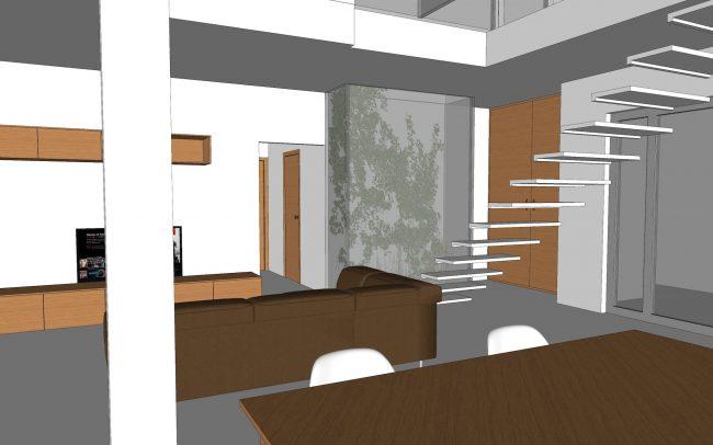Interior proyecto de vivienda unifamiliar aislada en Santurio Gijón Dolmen Arquitectos