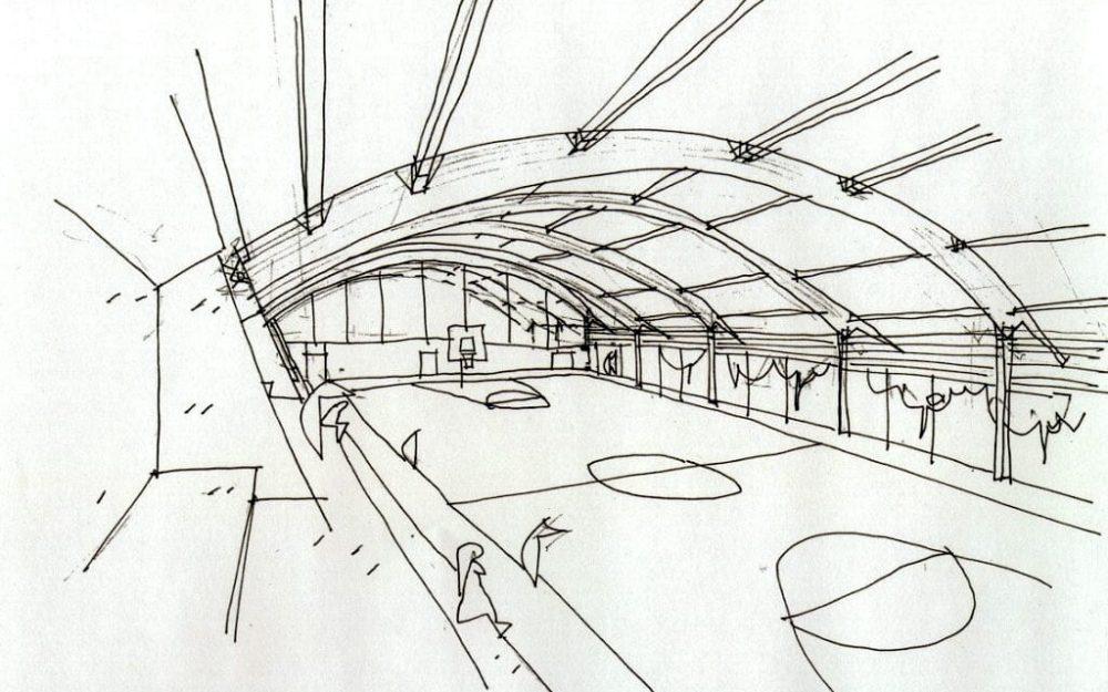 Pabellón polideportivo de Ribadedeva Asturias obra de Dolmen Arquitectos de Gijón