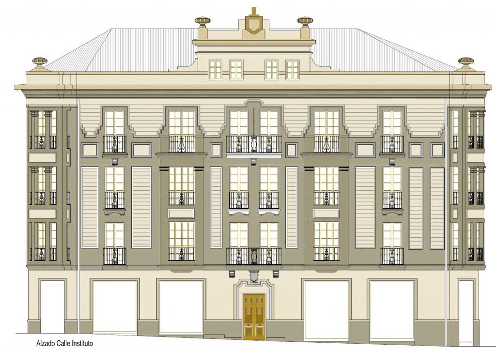 Plano de la fachada rehabilitada en la calle instituto - Arquitectos en gijon ...