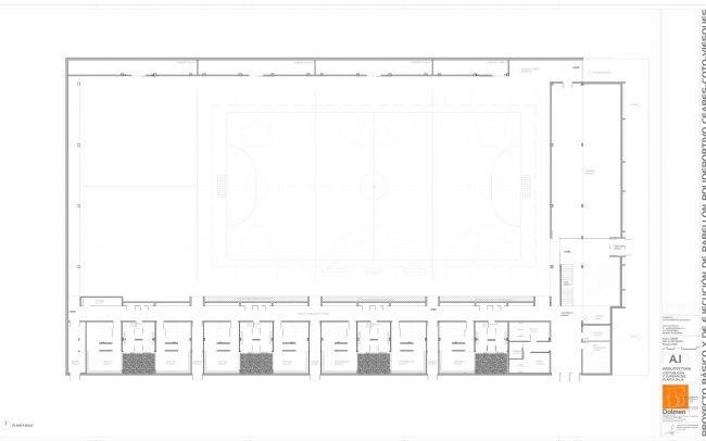 Plano de planta baja del polideportivo de Ceares Gijón obra de Dolmen Arquitectos
