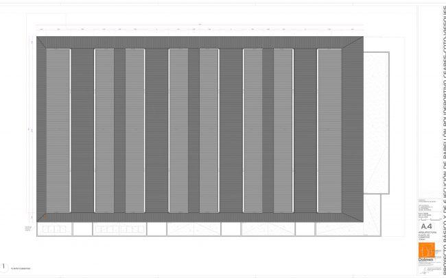 Plano de planta de cubiertas del polideportivo de Ceares Gijón obra de Dolmen Arquitectos