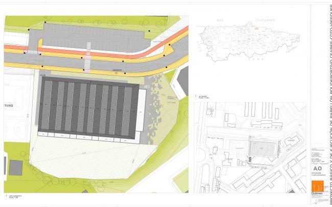 Plano de situación y emplazamiento del polideportivo de Ceares Gijón obra de Dolmen Arquitectos