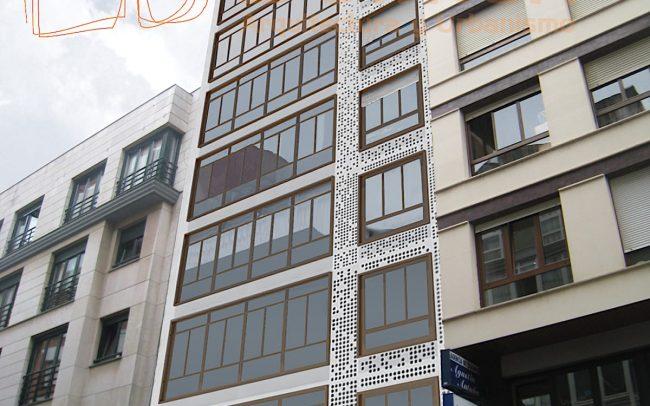 Propuesta 2 de rehabilitacion de fachada en Gijon por Dolmen Arquitectos