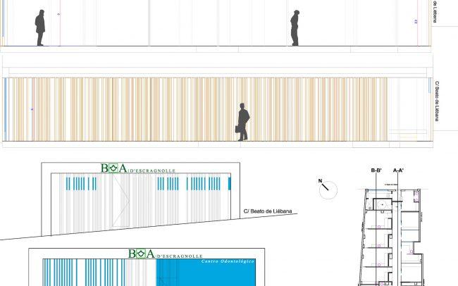 Proyecto de reforma clínica dental Santander obra de Dolmen Arquitectos de Asturias