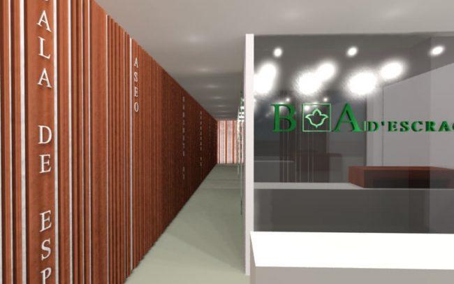 Proyecto de reforma clínica dental Santander obra de Dolmen Arquitectos de Asturias estado reformado entrada pasillo