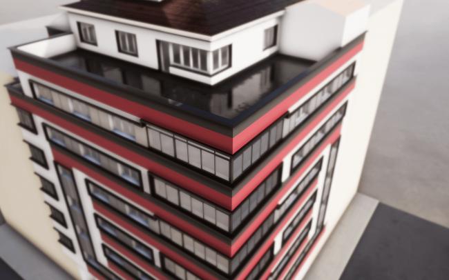 Reforma de fachadas en Oviedo calle Gloria Fuertes proyecto de Dolmen Arquitectos de Asturias render 3