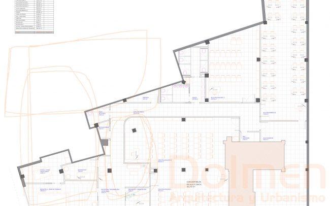 Reforma local Asturias centro de formación en Gijón proyecto de Dolmen Arquitectos planta estado reformado