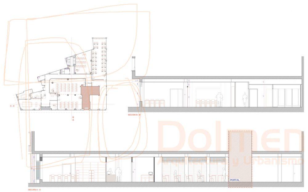 Reforma local Asturias centro de formación en Gijón proyecto de Dolmen Arquitectos planta estado reformado secciones