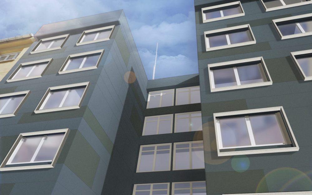 Rehabilitación de fachadas en Gijón calle Tirso de Molina Dolmen Arquitectos