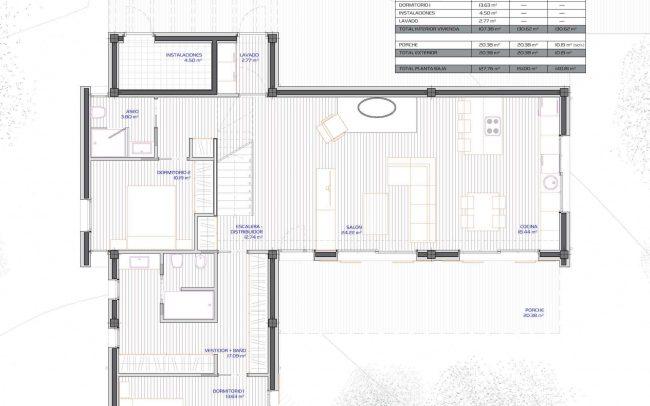Vivienda unifamiliar aislada en Langreo Planta Baja diseño de Dolmen Arquitectos