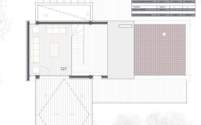 Vivienda unifamiliar aislada en Langreo Planta Primera diseño de Dolmen Arquitectos