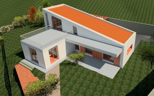 Vivienda unifamiliar aislada en Langreo vista aérea diseño de Dolmen Arquitectos