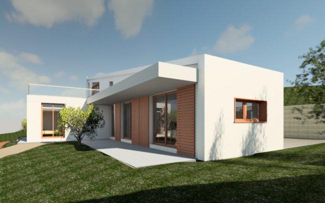 Vivienda unifamiliar aislada en Langreo vista sureste porche diseño de Dolmen Arquitectos
