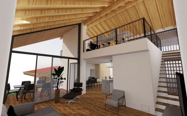 Vivienda unifamiliar en La Tejera Carreño Dolmen Arquitectos Asturias render interior