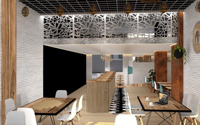Adecuación de local para cafetería en Gijón proyecto del estudio de arquitectura Dolmen Arquitectos escena 2
