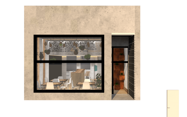 Adecuación de local para cafetería en Gijón proyecto del estudio de arquitectura Dolmen Arquitectos exterior