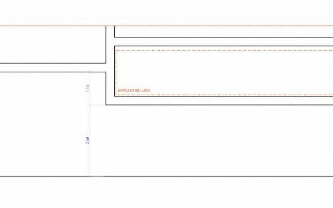 Adecuación de local para cafetería en Gijón proyecto del estudio de arquitectura Dolmen Arquitectos sección