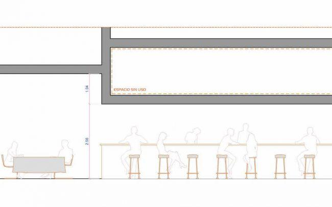 Adecuación de local para cafetería en Gijón proyecto del estudio de arquitectura Dolmen Arquitectos sección reformado