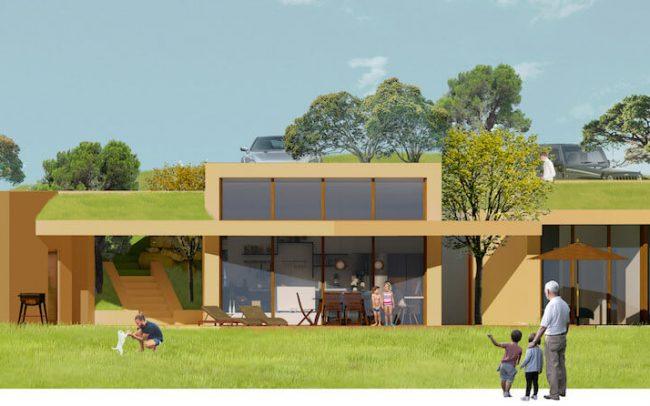 Arquitectura sostenible en Asturias vivienda unifamiliar en Santurio proyecto de Dolmen Arquitectos alzado
