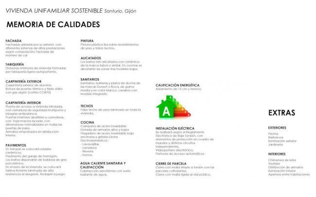 Arquitectura sostenible en Asturias vivienda unifamiliar en Santurio proyecto de Dolmen Arquitectos calidades