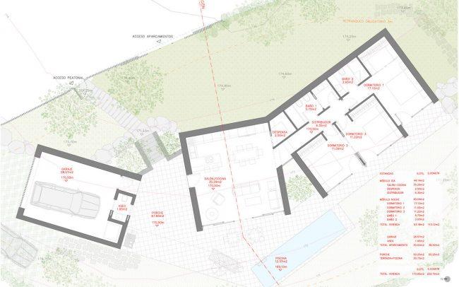 Arquitectura sostenible en Asturias vivienda unifamiliar en Santurio proyecto de Dolmen Arquitectos plano planta