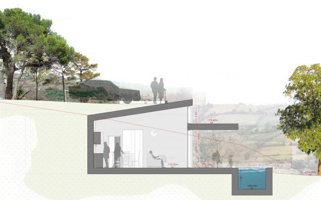 Arquitectura sostenible en Asturias vivienda unifamiliar en Santurio proyecto de Dolmen Arquitectos sección