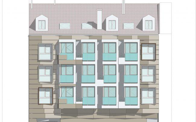 Construcción de edificio en Gijón calle Cervantes Dolmen Arquitectos Asturias fachada nueva