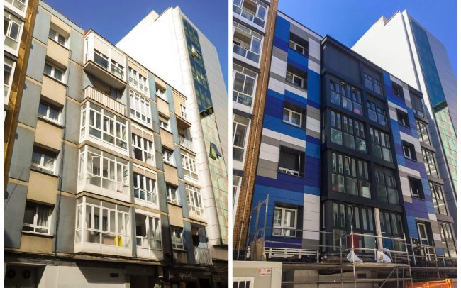 Dolmen Arquitectos rehabilitación fachadas Asturias Canga Argüelles Gijón