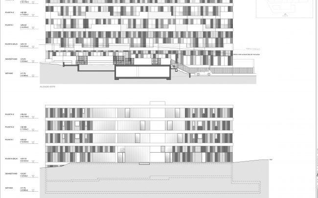 Edificio de viviendas en Gijón Dolmen Arquitectos Asturias alzados
