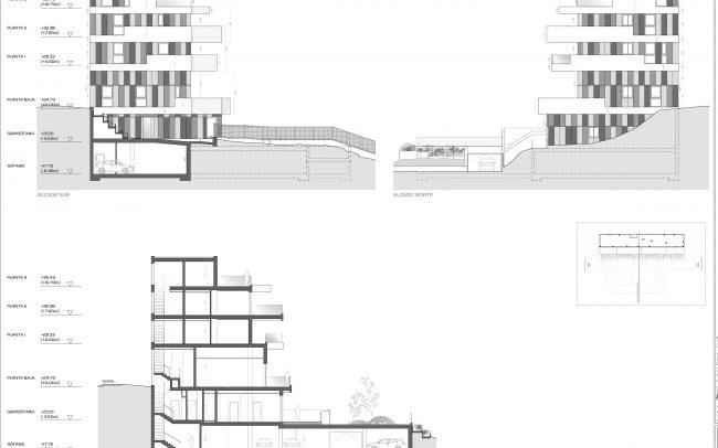 Edificio de viviendas en Gijón Dolmen Arquitectos Asturias alzados y sección