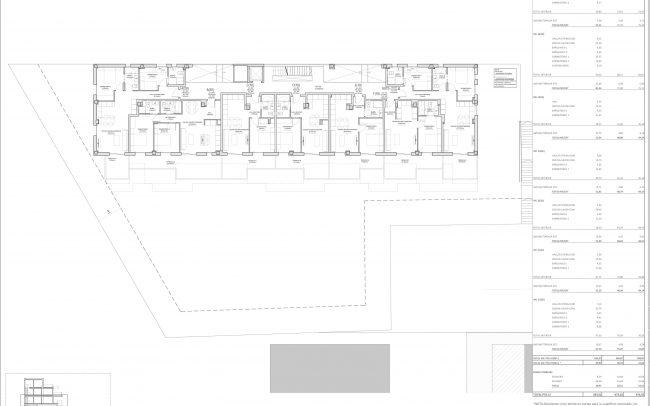 Edificio de viviendas en Gijón Dolmen Arquitectos Asturias planta primera