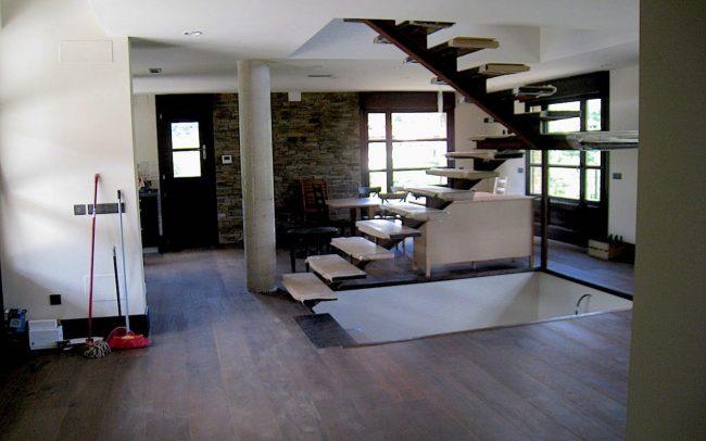 Escalera vivienda unifamiliar Villaviciosa Asturias