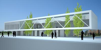 Fachada Edificio del Centro de Servicios Científico-Tecnológicos del Campus de Gijón Dolmen Arquitectos