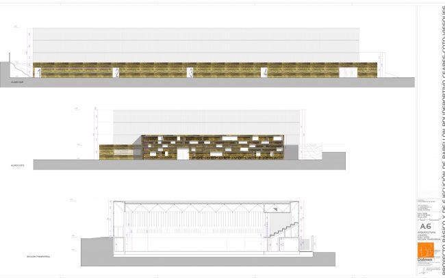 Plano de alzados y sección 2 del polideportivo de Ceares Gijón obra de Dolmen Arquitectos